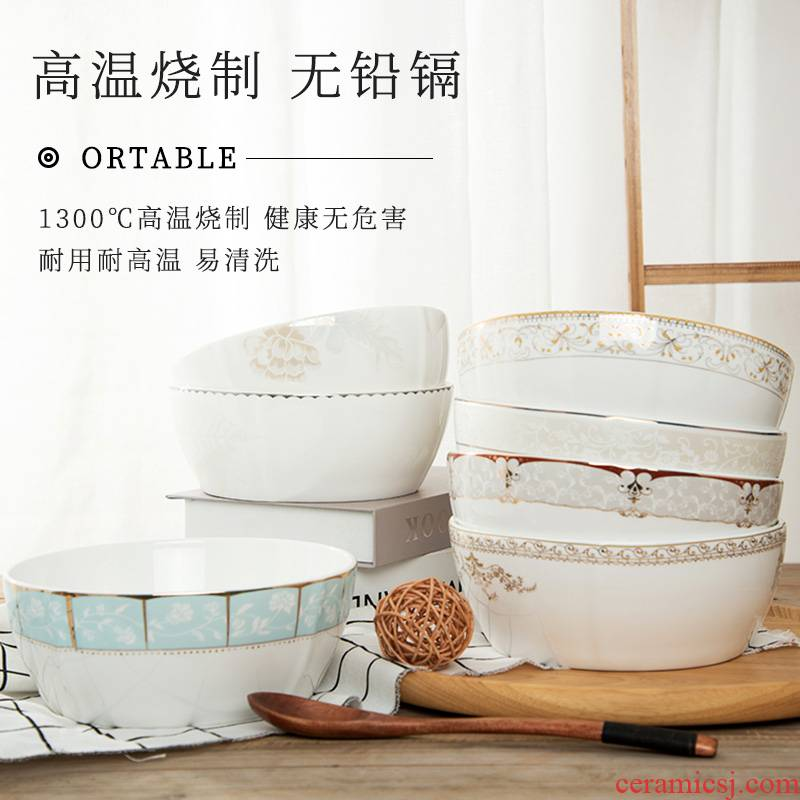 Jingdezhen ceramic bowl ipads porcelain bowl, square, noodles in soup bowl of Chinese style household contracted tableware hot to eat salad bowl