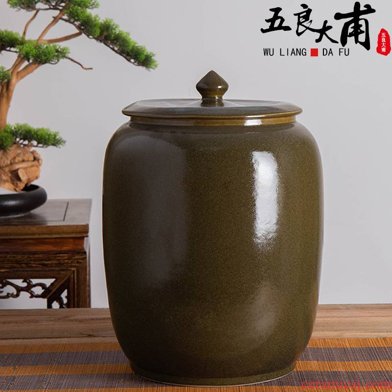 Jingdezhen ceramic barrel pack ricer box store 30 jins meters installed with cover seal face/household moistureproof insect - resistant rice
