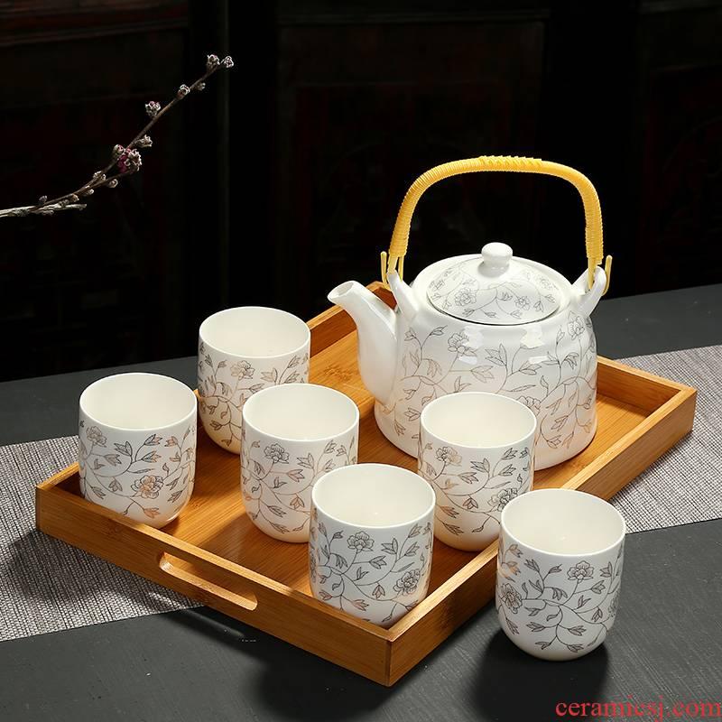 Jingdezhen girder pot of tea of a complete set of kung fu tea set large teapot teacup high - temperature household cool ceramic kettle