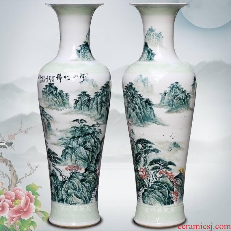 Jingdezhen ceramics splendid sunvo landscape painting of large vase household adornment sitting room of Chinese style big furnishing articles