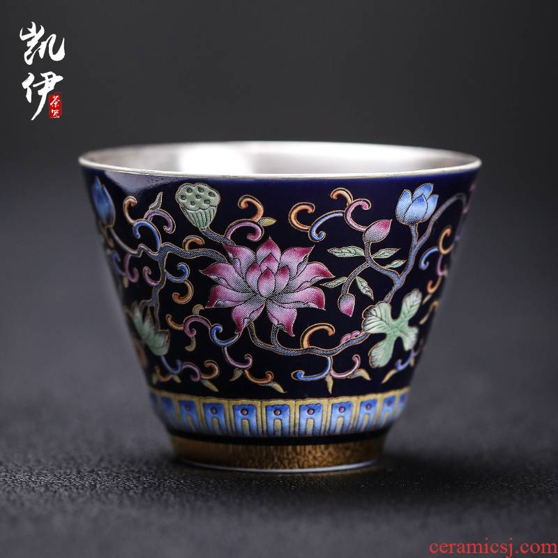 Colored enamel coppering. As 999 silver with a silver spoon in its ehrs expressions using cup tea masters cup court sample tea cup silver cup jingdezhen ceramics