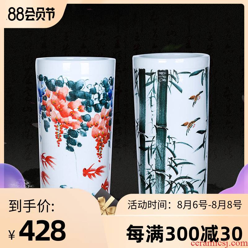 Jingdezhen ceramic hand - made scenery quiver landing place, a large vase painting and calligraphy calligraphy and painting scroll of cylinder cylinder