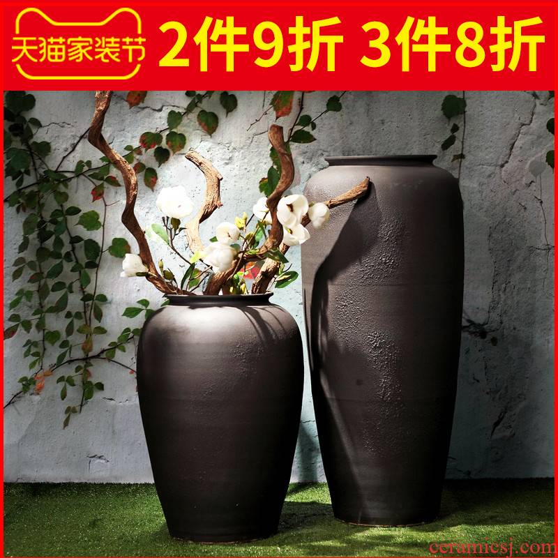 Jingdezhen ceramic vase landing creative restoring ancient ways is the sitting room porch decoration furnishing articles coarse TaoHua dried flowers suit