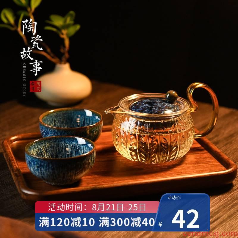 Ceramic teapot story filter glass thickening high - temperature floret teapot tea tea set