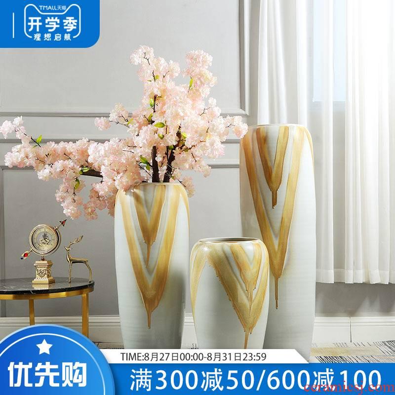 European ceramic vase landing simulation flower suit sitting room hotel large flower POTS porch villa decorations