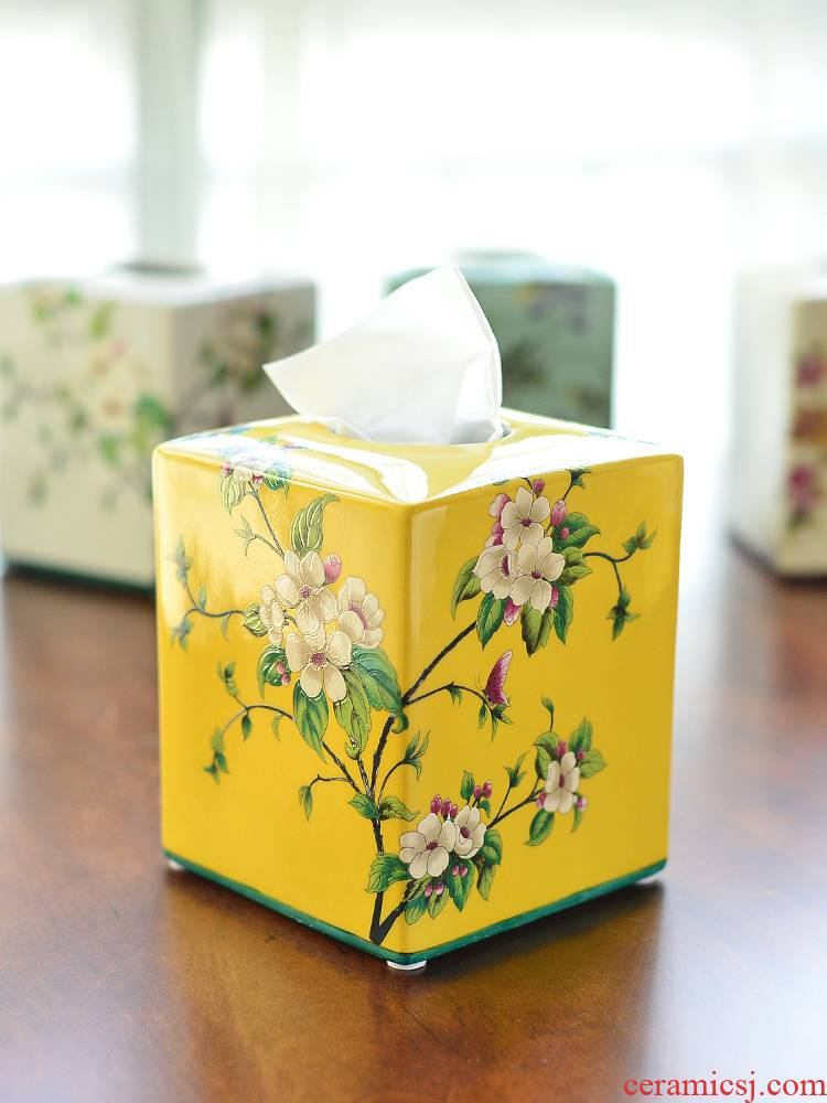 The New Chinese famille rose porcelain tissue boxes sitting room tea table dining - room table American pick a carton decoration film furnishing articles