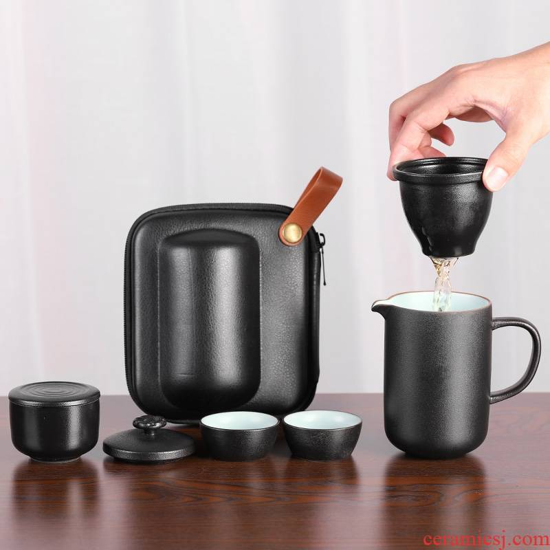 Travel tea set suit portable package 2 Japanese black pottery crack cup a pot of 2 cup two cups of is suing Travel car
