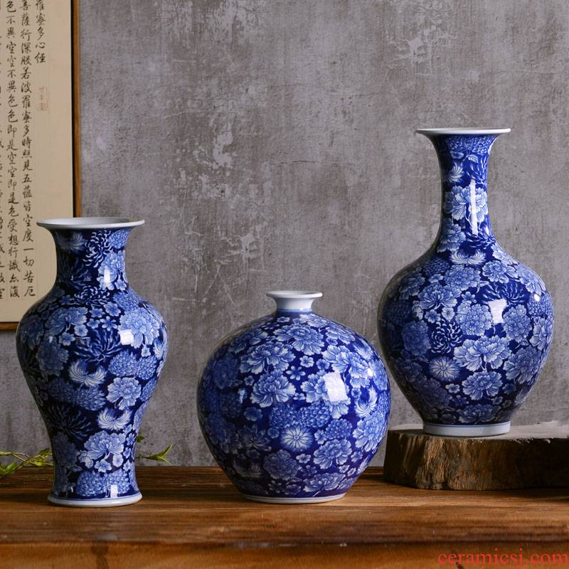 Antique blue and white porcelain vase of jingdezhen ceramics new Chinese style classical household sitting room adornment rich ancient frame furnishing articles