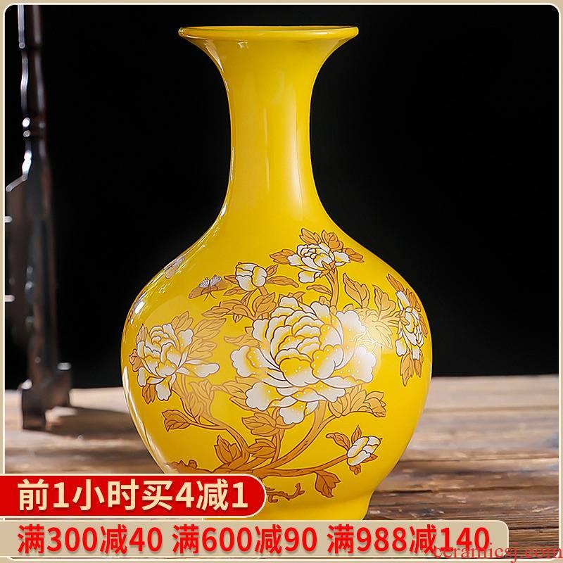 Jingdezhen ceramics China red peony vase household adornment handicraft furnishing articles wedding gift for the wedding
