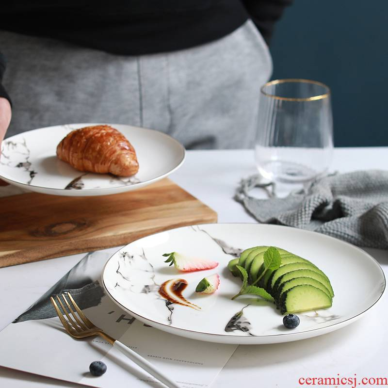 Jingdezhen Nordic marble texture with up phnom penh ceramic plate disc flat dish plate of western food steak dinner plate