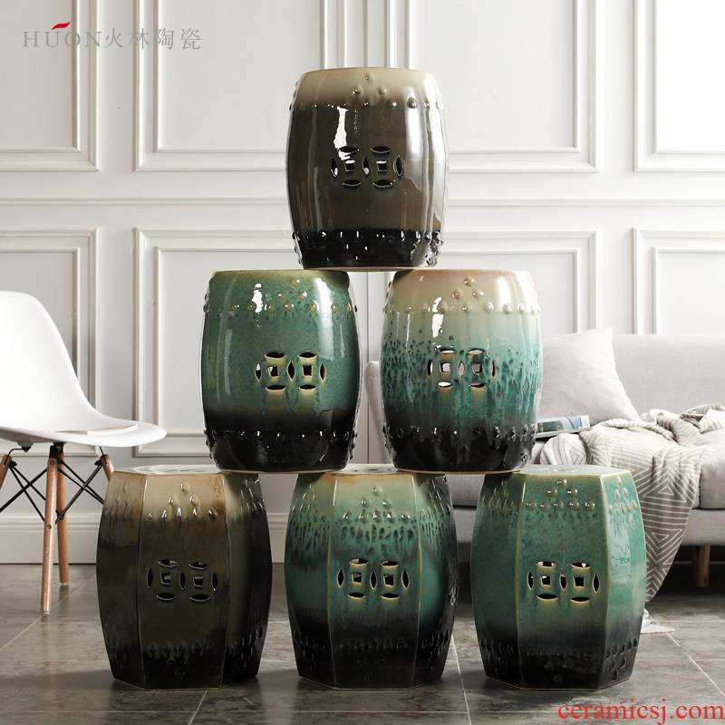 American new Chinese style coloured drawing or pattern porcelain ceramic drum who sitting room yard pier cold pier in shoes dressing who decorative furnishing articles
