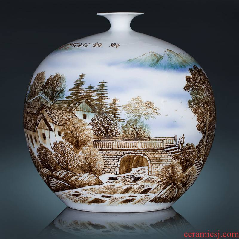 Jingdezhen blue and white porcelain manual hand - made dried flowers sitting room place vase modern new Chinese style decoration decoration