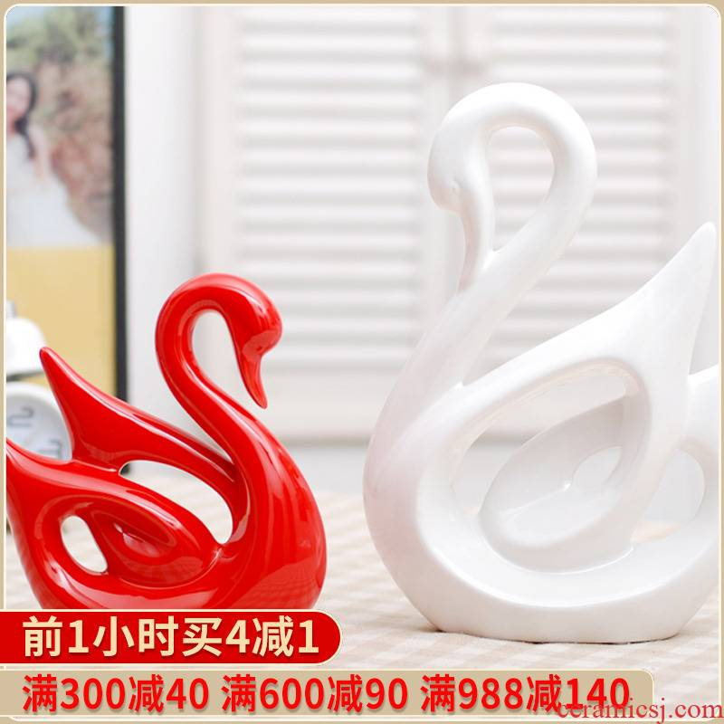 031 jingdezhen ceramics handicraft abstract swan couples furnishing articles modern decoration decoration wedding gift