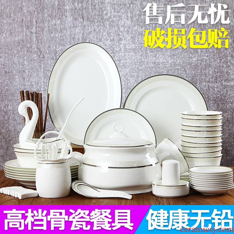 Jingdezhen ceramics tableware household eat simple ipads bowls dish suits for Chinese style new combination plate spoon, chopsticks