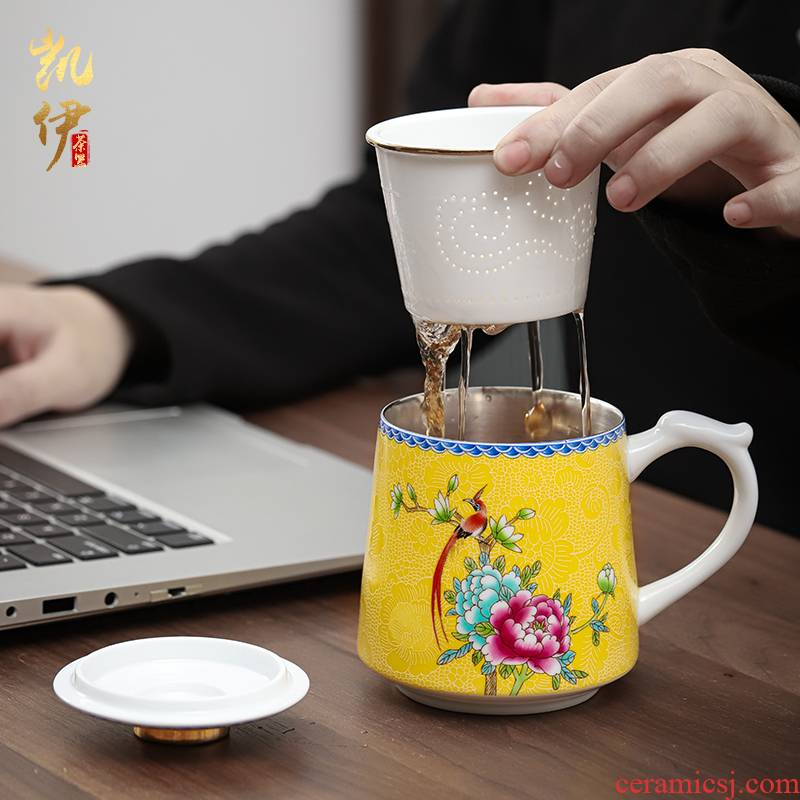 Colored enamel coppering. As silver cup office of jingdezhen ceramic cup silver cup hand grasp cup filter cup keller