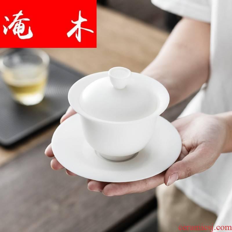 Submerged wood dehua unglazed porcelain large tureen household kung fu tea set to make tea bowl three checking ceramic bowl