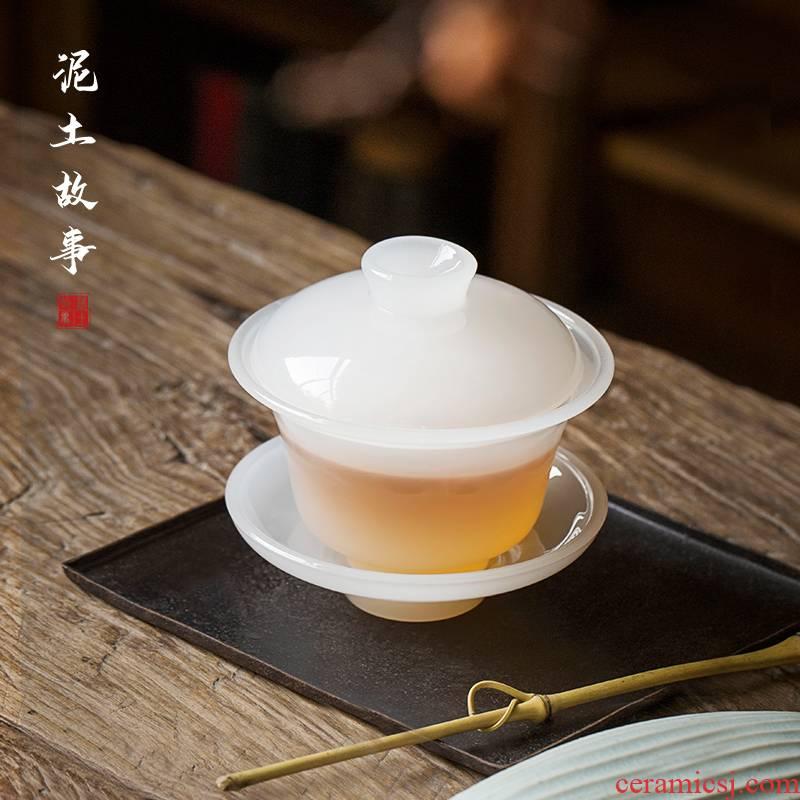 White jade porcelain tureen only three big bowl tea saucer fat White ceramic glass colored glaze kung fu tea accessories