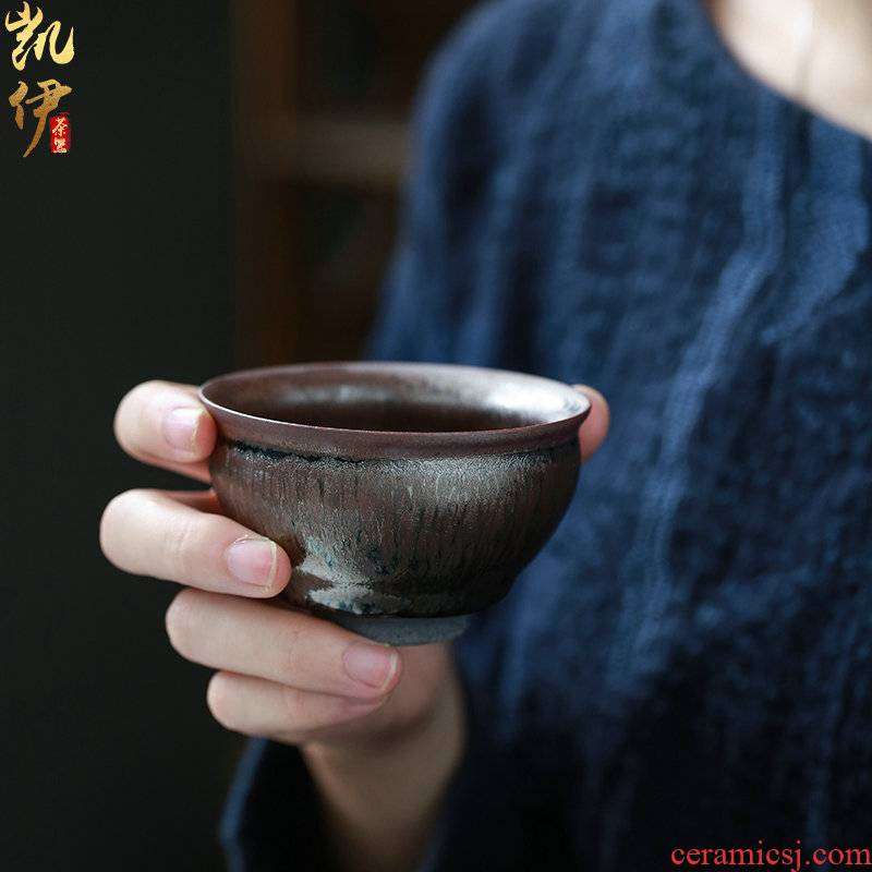 Temmoku up built light beam koubei kung fu tea set ceramic tire iron ash sample tea cup tea cup master cup tea cup