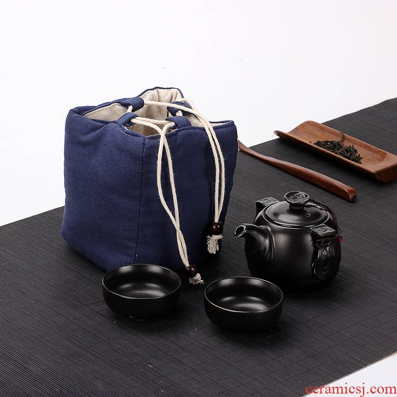 Travel fast 2 new suit a pot of two cups of portable package ceramic teapot cup is suing a complete set of kung fu tea set