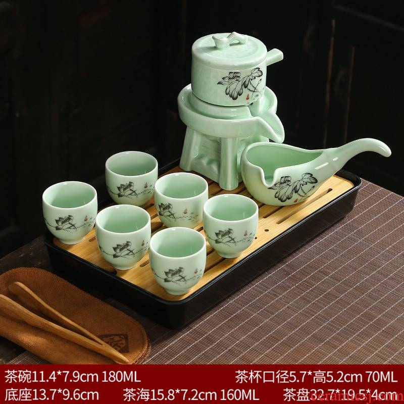 Automatic purple sand tea set home sitting room Shi Mopan lazy teapot office fortunes cups
