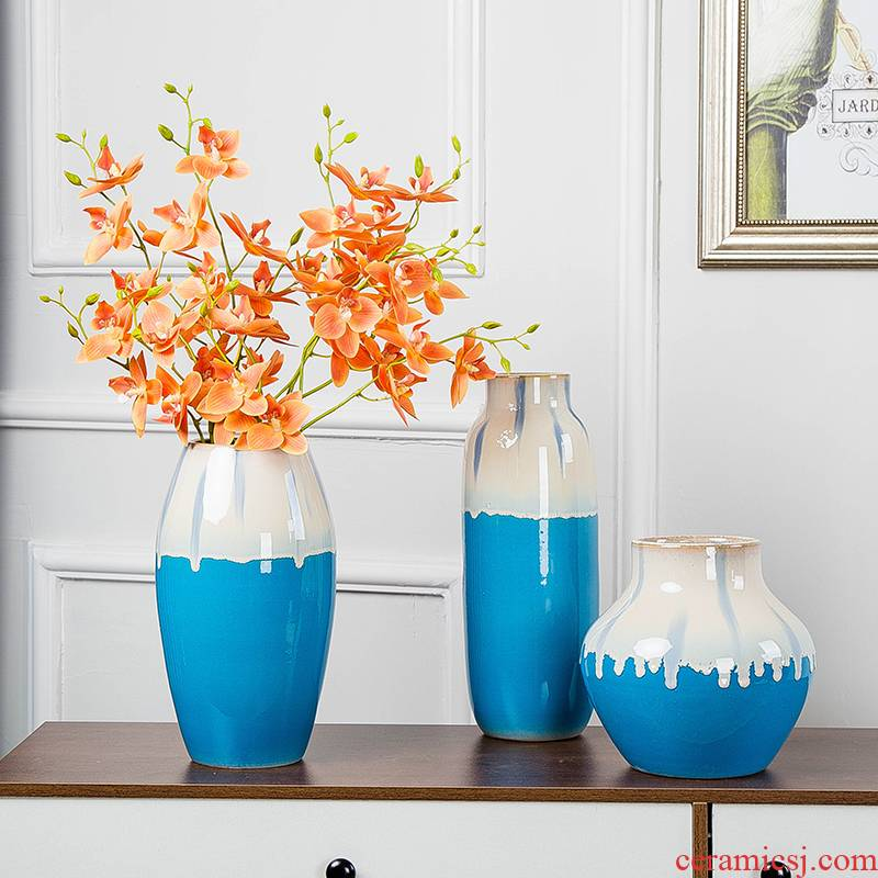 Jingdezhen ceramic vases, dry flower arranging flowers is household desktop wine sitting room adornment is placed I and contracted Europe type