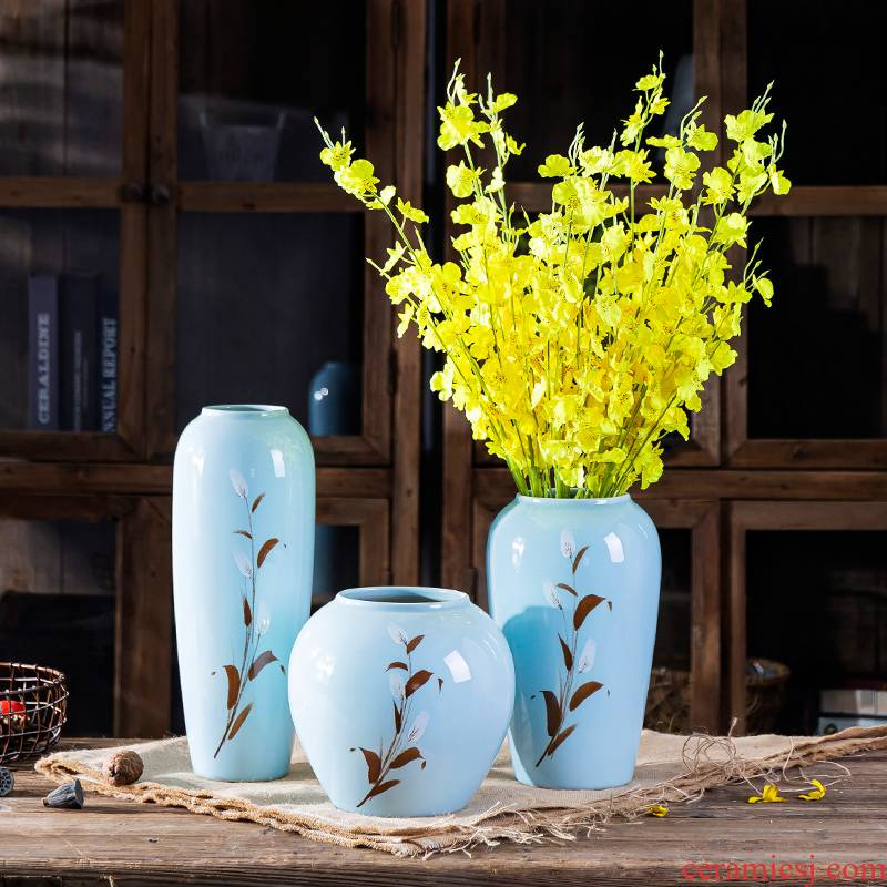 Nordic hand - made of rural wind ceramic vase furnishing articles sitting room dry flower arranging flowers water raise TV cabinet creative decoration