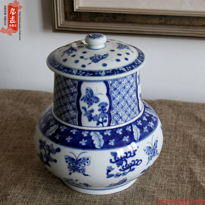 Shadow enjoy | manual blue and white porcelain of jingdezhen ceramics ceramic tea caddy fixings storage place porcelain JH