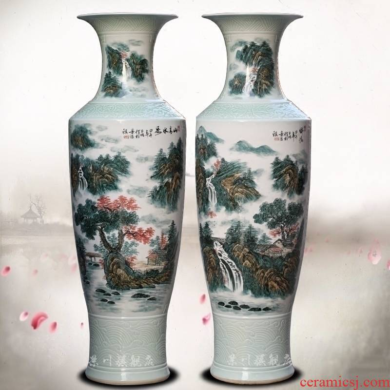 Jingdezhen ceramics hand - made mountain green water show large vases, furnishing articles sitting room hotel modern household adornment