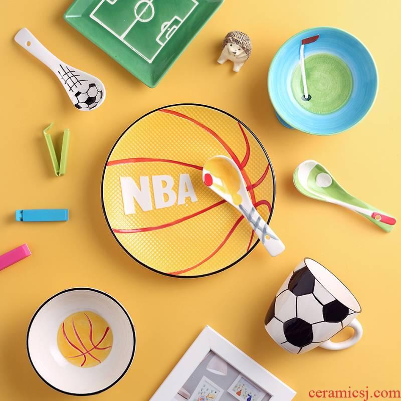 Dishes suit household children cartoon creative eats one bowl dish dish dish glass ceramic tableware