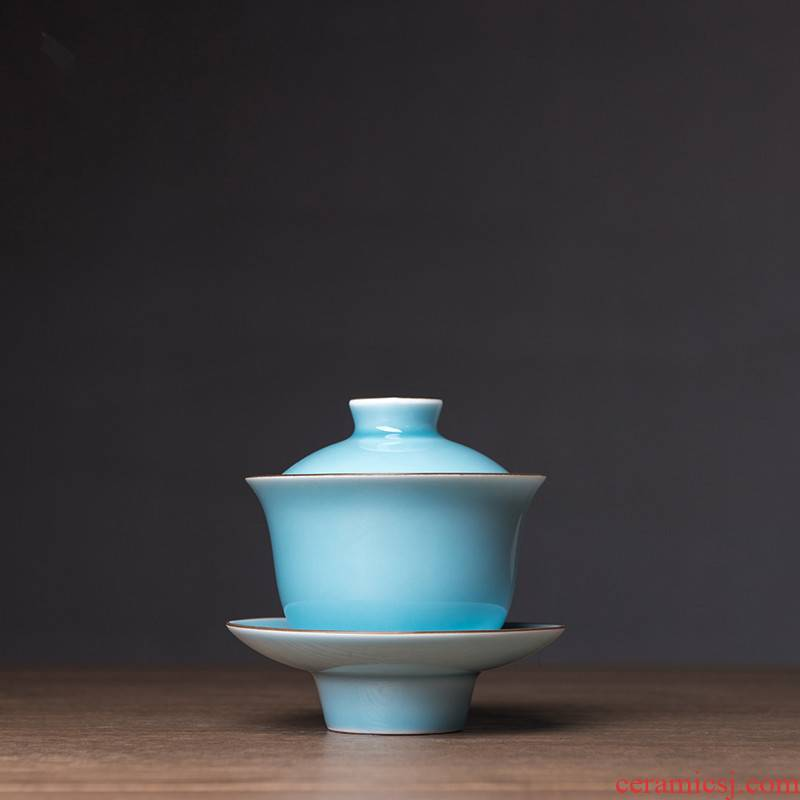 Poly real view jingdezhen under high temperature and the lake blue glaze manual hand - made ceramic tureen three fish lotus tureen