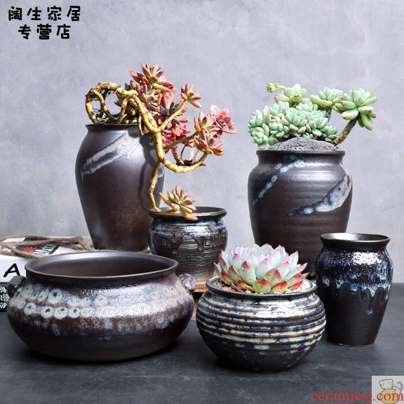 Fleshy flower - pot creative tuba basin contracted green plant to restore ancient ways some ceramic pot the plants breathe freely set