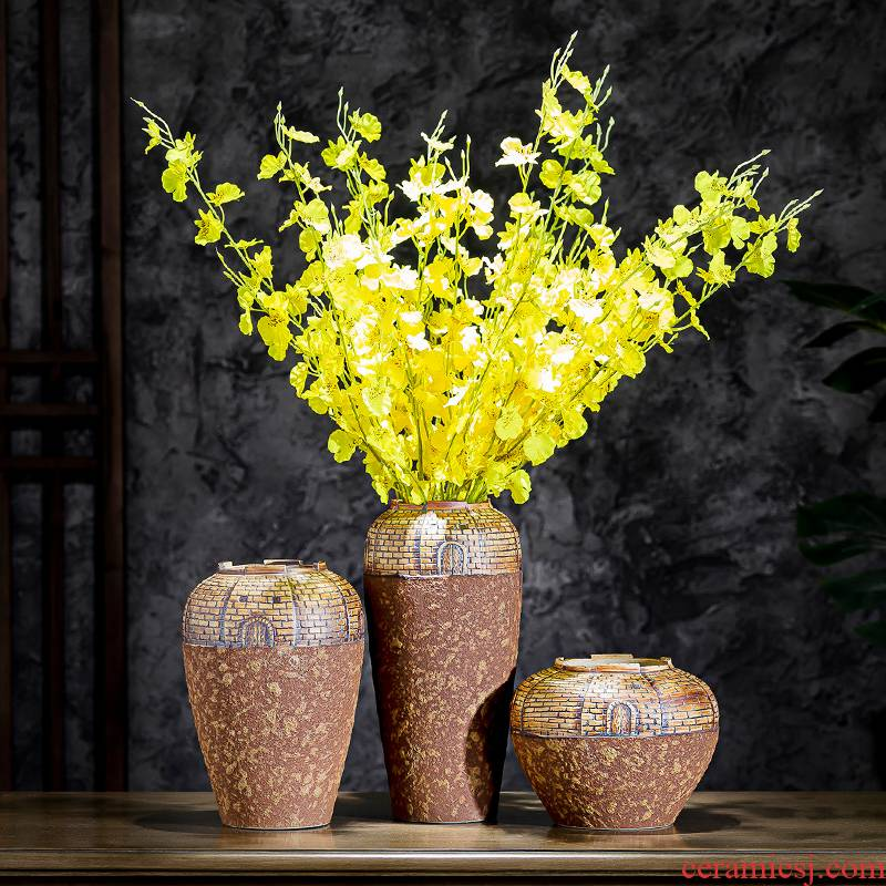 The Vases, flower arrangement sitting room manual coarse pottery archaize do old pottery art style of Chinese style water raise flower implement American desktop