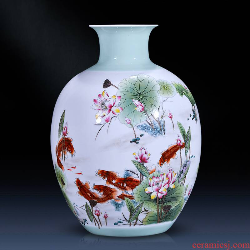 Jingdezhen ceramics vase furnishing articles sitting room flower arranging pastel sitting room of Chinese style household wine TV ark, adornment