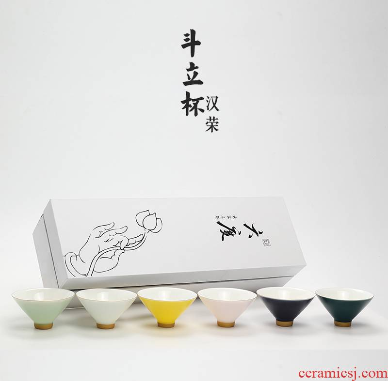 Special suit seven cups of ceramic cups hand - made stroke tea sample tea cup package mail perfectly playable cup kung fu