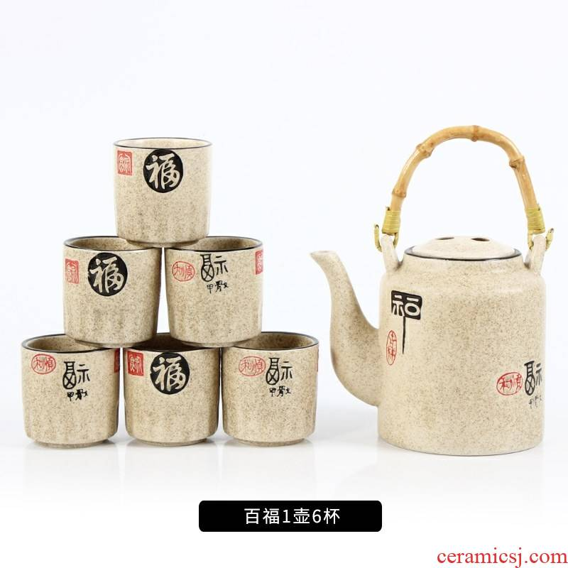 ~ old earthenware coarse pottery large portable nostalgic kettle antique teapot liang hotel hotel Chinese wind characteristics.