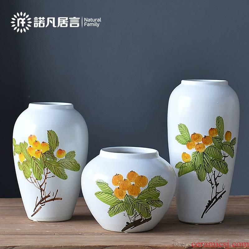 Jingdezhen ceramic vase landing place flower arrangement sitting room suit dried flowers, light much creative pipa decoration decoration