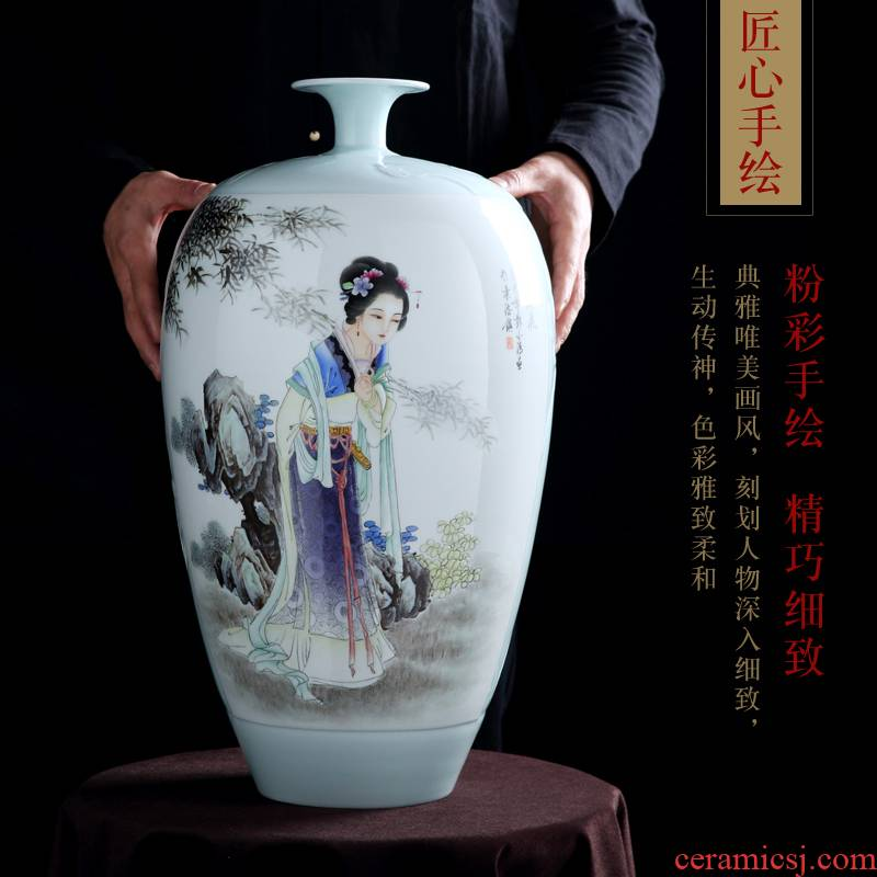 Jingdezhen ceramic hand - made big vase furnishing articles in dry flower porch of new Chinese style household enamel craft ornaments