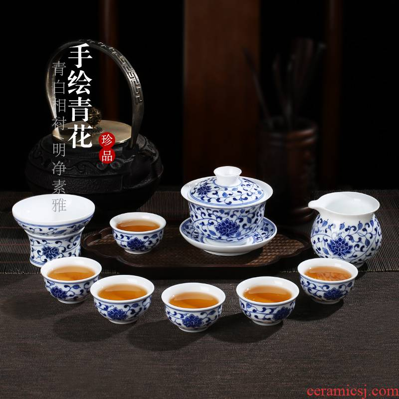 . Gather around scene branch lotus tureen jingdezhen hand - made kung fu tea set of blue and white porcelain cups little suit Chinese style household