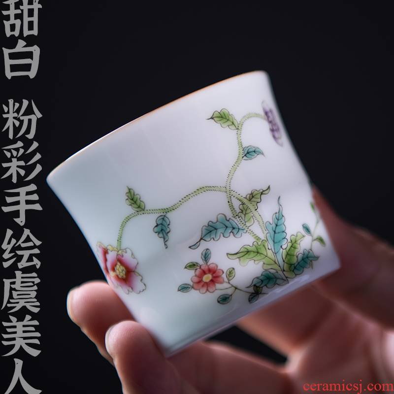 24 is pastel hand - made sweet white jingdezhen ceramic cup sample tea cup, small cup of corn poppy kung fu master