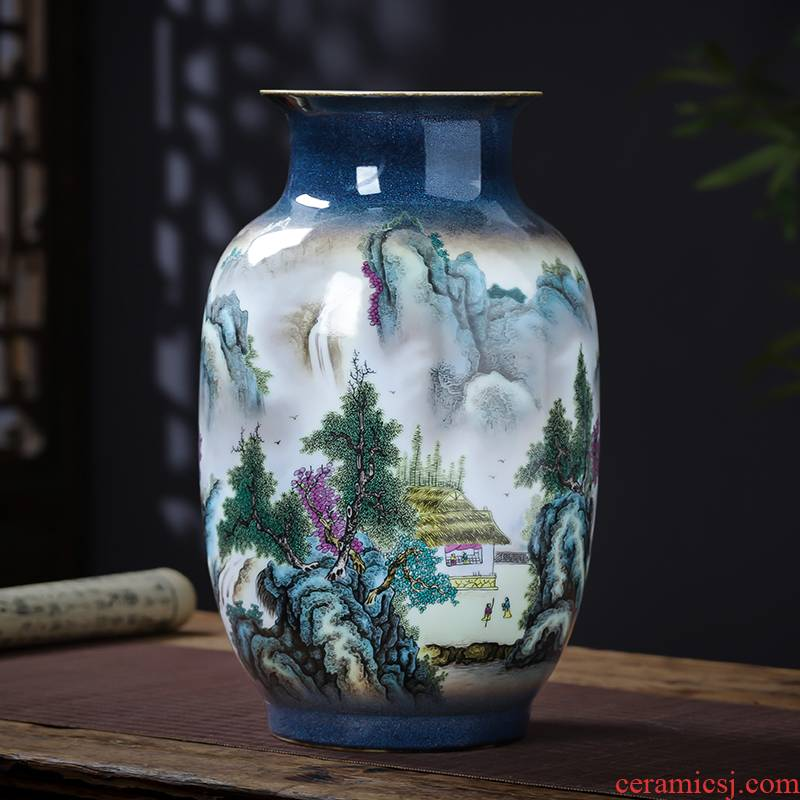 Jingdezhen porcelain ceramic pastel landscape vases, flower arranging new Chinese style household furnishing articles rich ancient frame sitting room adornment