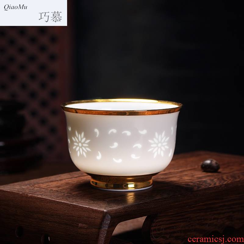 Qiao mu hollow out exquisite thin body see colour porcelain teacup pervious to light a single cup of jingdezhen ceramic kung fu tea set a character