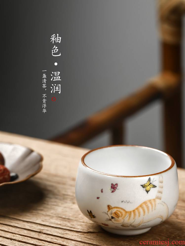 "Jingdezhen hand - made kunfu tea cat sample tea cup your up cups master cup of pure manual ""women 's cup ceramic tea set"