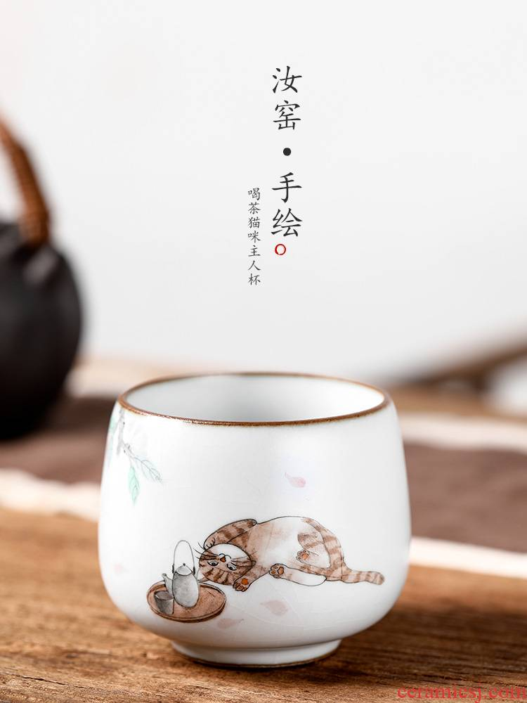 The Master cup single CPU getting jingdezhen ceramic cups cat your up sample tea cup pure manual hand - made kung fu household utensils