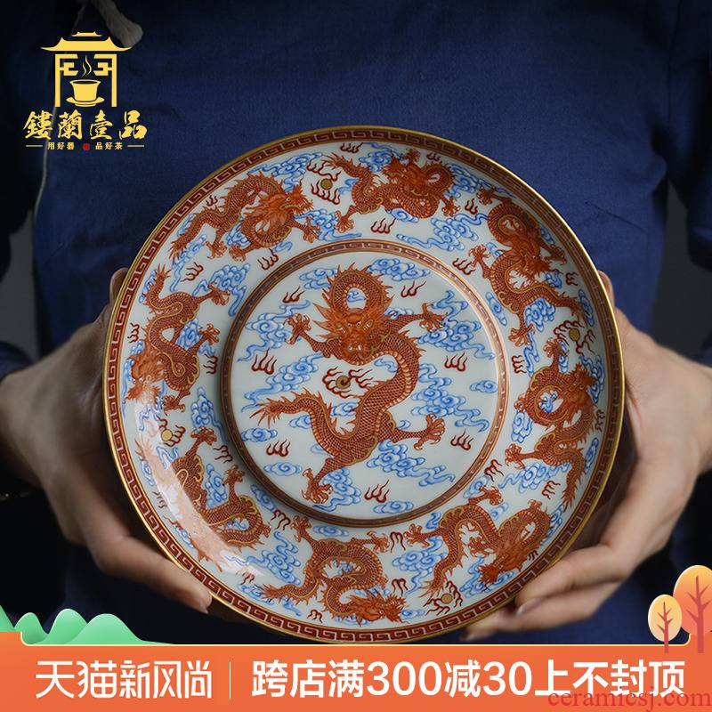Jingdezhen ceramic all hand - made alum red paint Kowloon play pearl raise pot pad dry mercifully pot of retainer teapot base plate