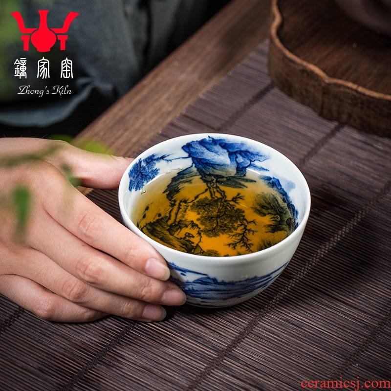 Bell up cup the host CPU single CPU jingdezhen blue and white maintain internal and external landscape full working full picture cups kung fu