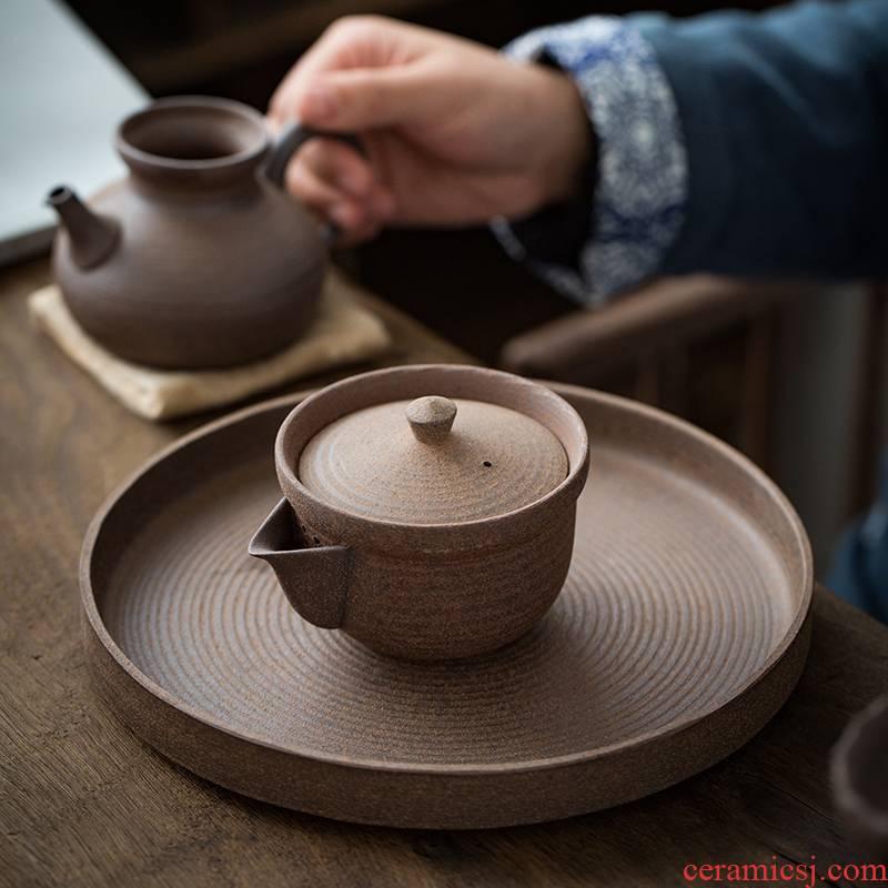 Japanese checking coarse pottery hand grasp pot of zen kung fu tea set rock, ceramic teapot finger bowl household tureen