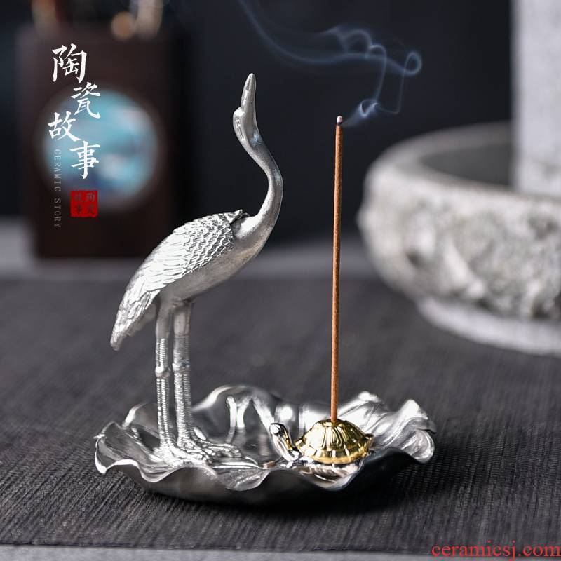 Ceramic and story of pure tin cranes incense inserted there are kung fu tea tea tea accessories zen creative move of a pet