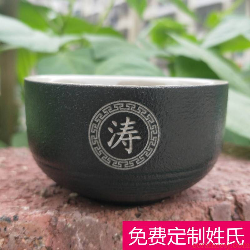 Black pottery sample tea cup tea cup to use ceramic small kung fu masters cup private custom name engraved words
