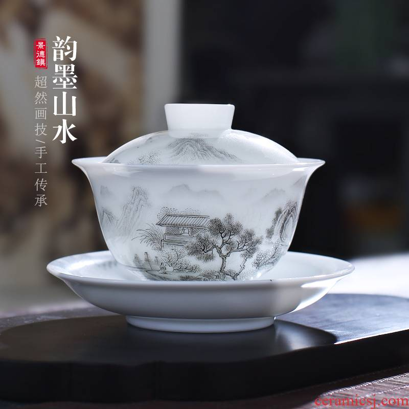 The Poly real jingdezhen hand - made ink landscape scene tureen single jade porcelain cups kung fu tea set ceramic tea bowl
