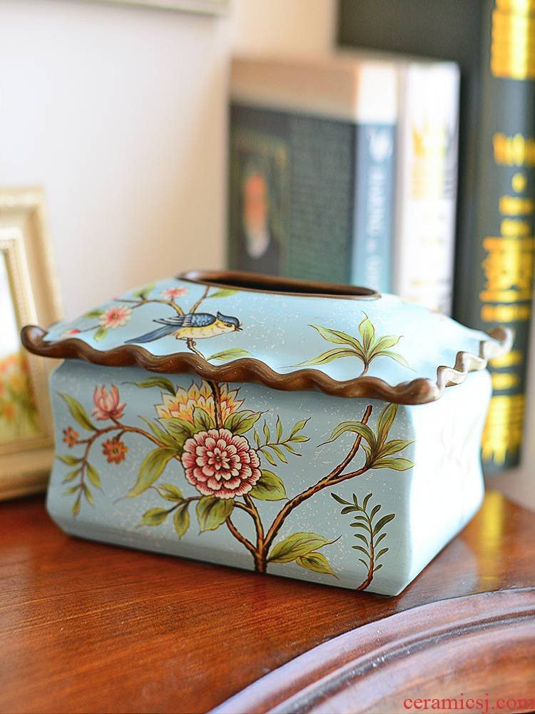 American Chinese style restoring ancient ways tissue boxes sitting room decorative furnishing articles European - style bedroom ceramic napkin paper carton